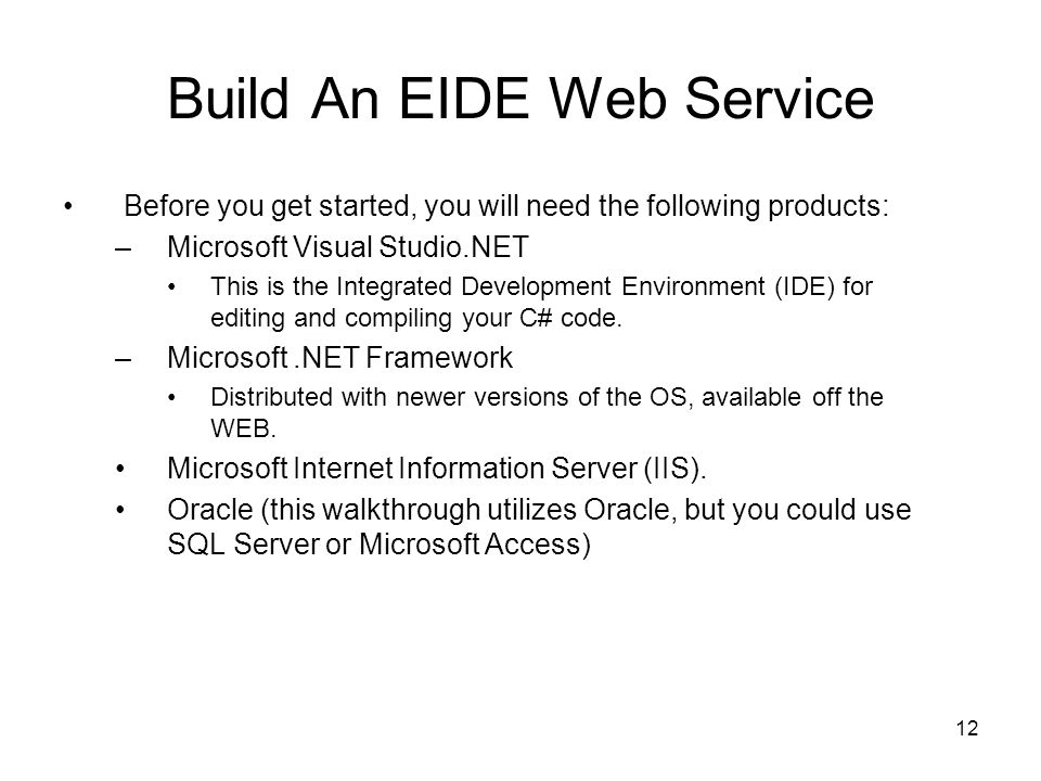 Build An EIDE Web Service