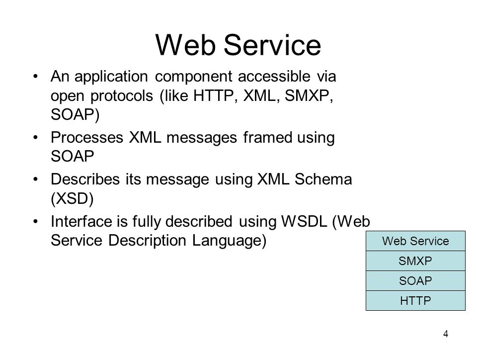 Web Service An application component accessible via open protocols (like HTTP, XML, SMXP, SOAP) Processes XML messages framed using SOAP.