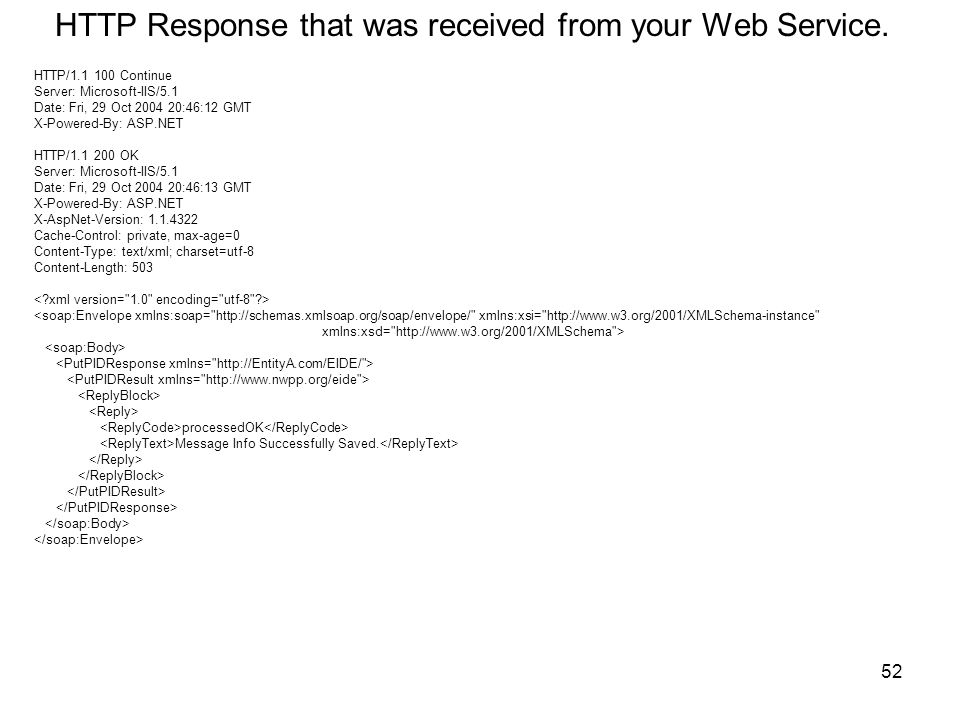 HTTP Response that was received from your Web Service.