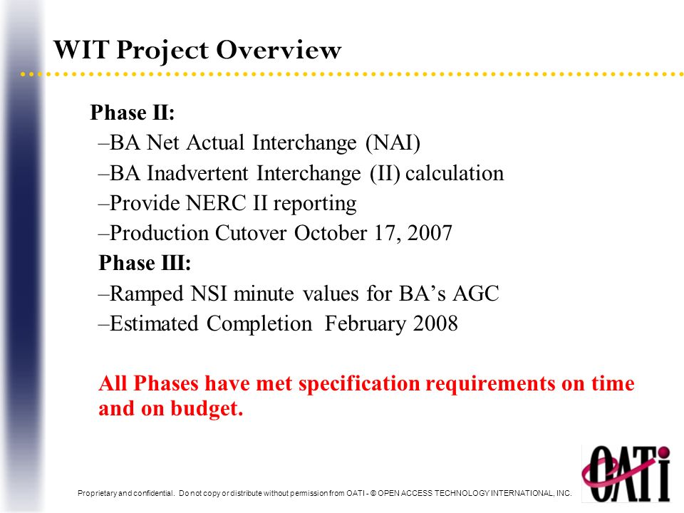 WIT Project Overview Phase II: BA Net Actual Interchange (NAI)