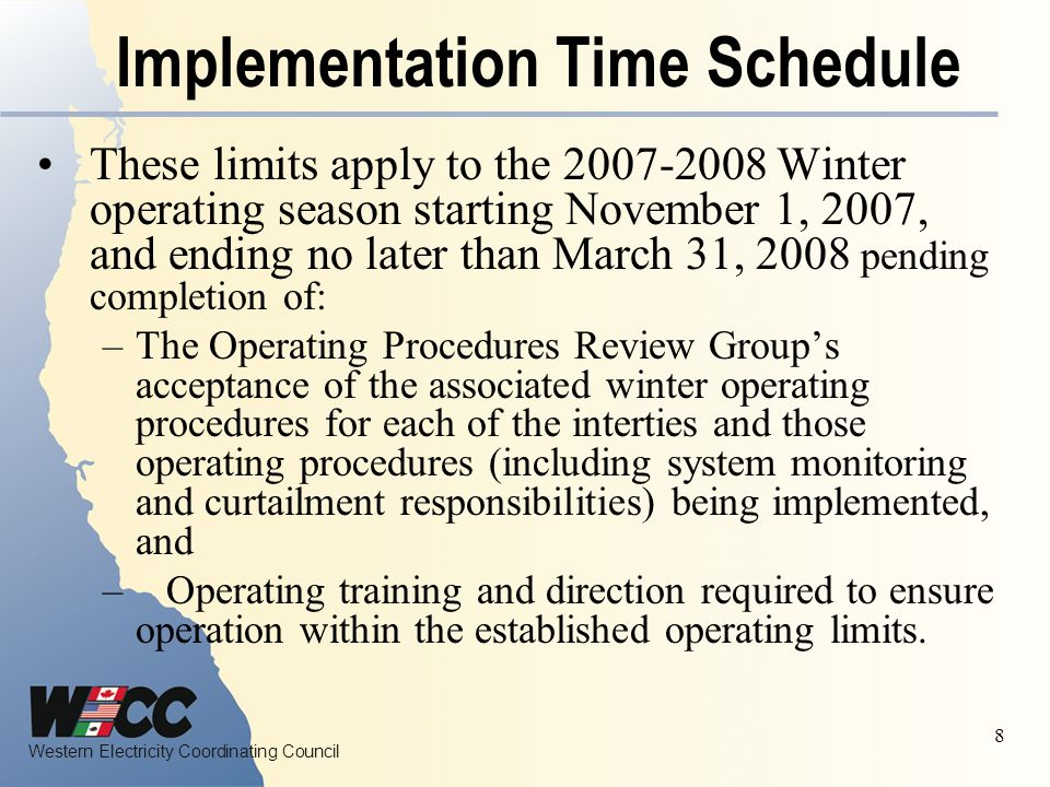 Implementation Time Schedule