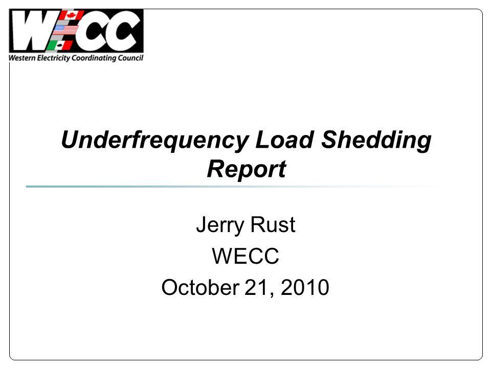 Underfrequency Load Shedding Report