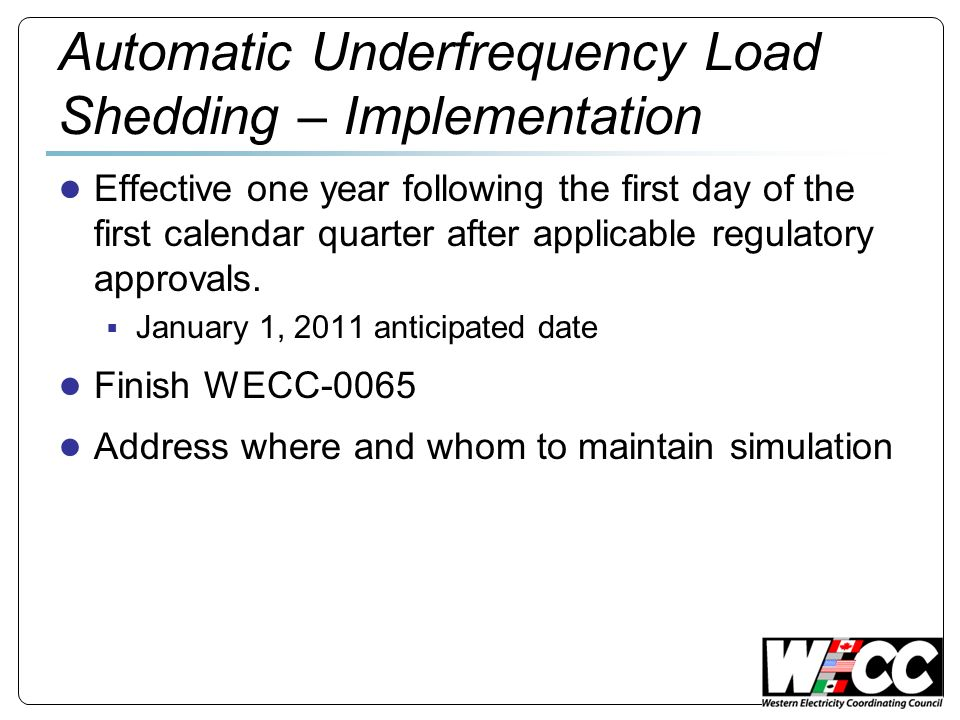 Automatic Underfrequency Load Shedding – Implementation