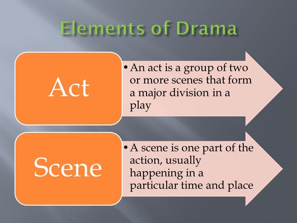 Elements Of Drama Act An Is A Group Two Or More Scenes That