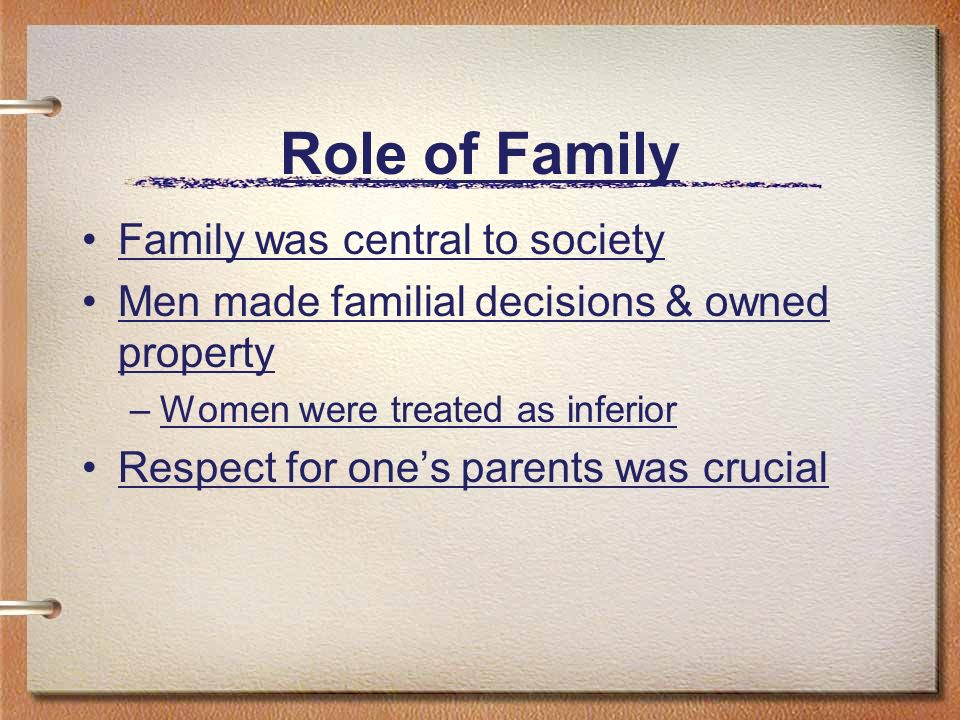 Role of Family Family was central to society