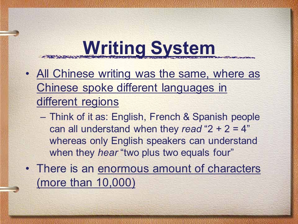 Writing System All Chinese writing was the same, where as Chinese spoke different languages in different regions.