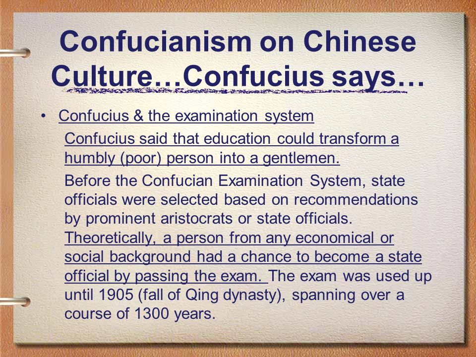Confucianism on Chinese Culture…Confucius says…