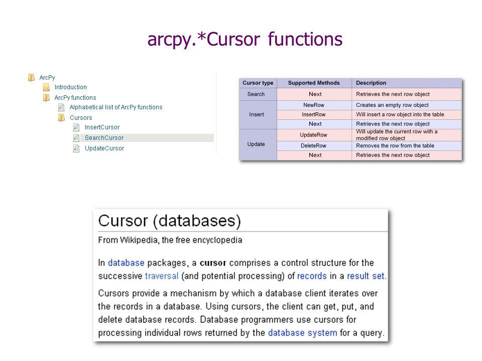 Overview Cursors arcpy da module Geometrys Arrays