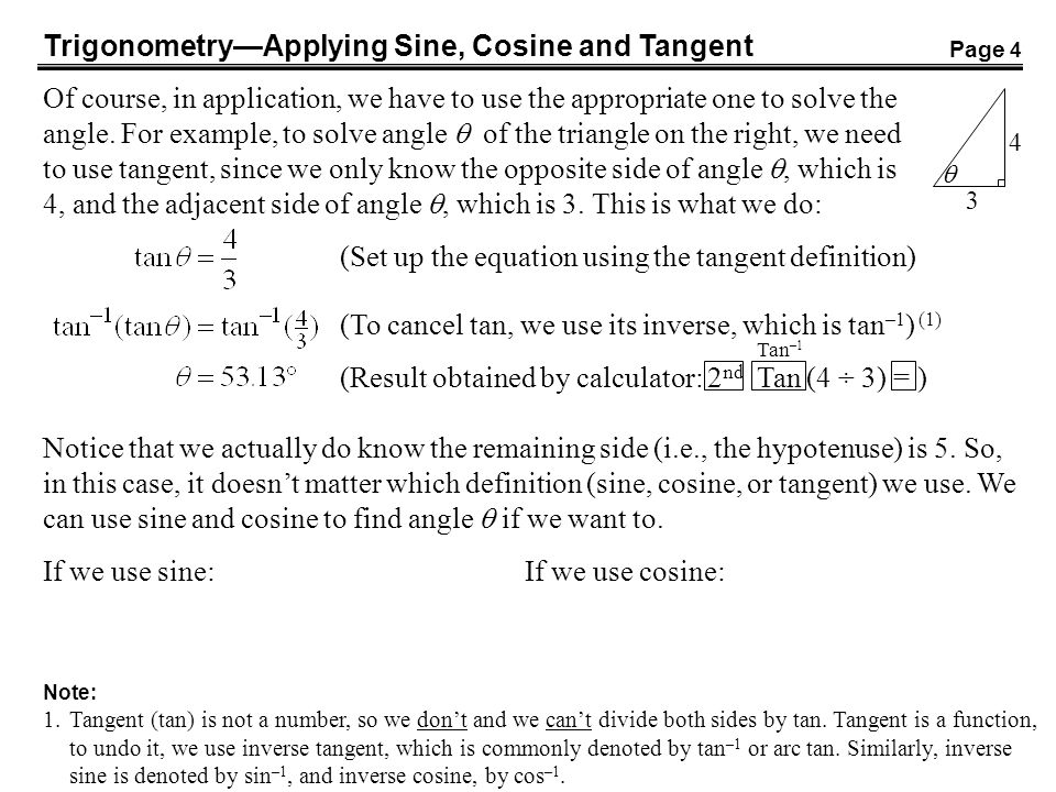 Trigonometry—Applying Sine, Cosine and Tangent