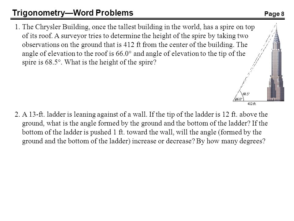 Trigonometry—Word Problems