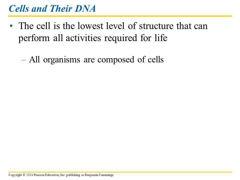 Cells and Their DNA The cell is the lowest level of structure that can perform all activities required for life.