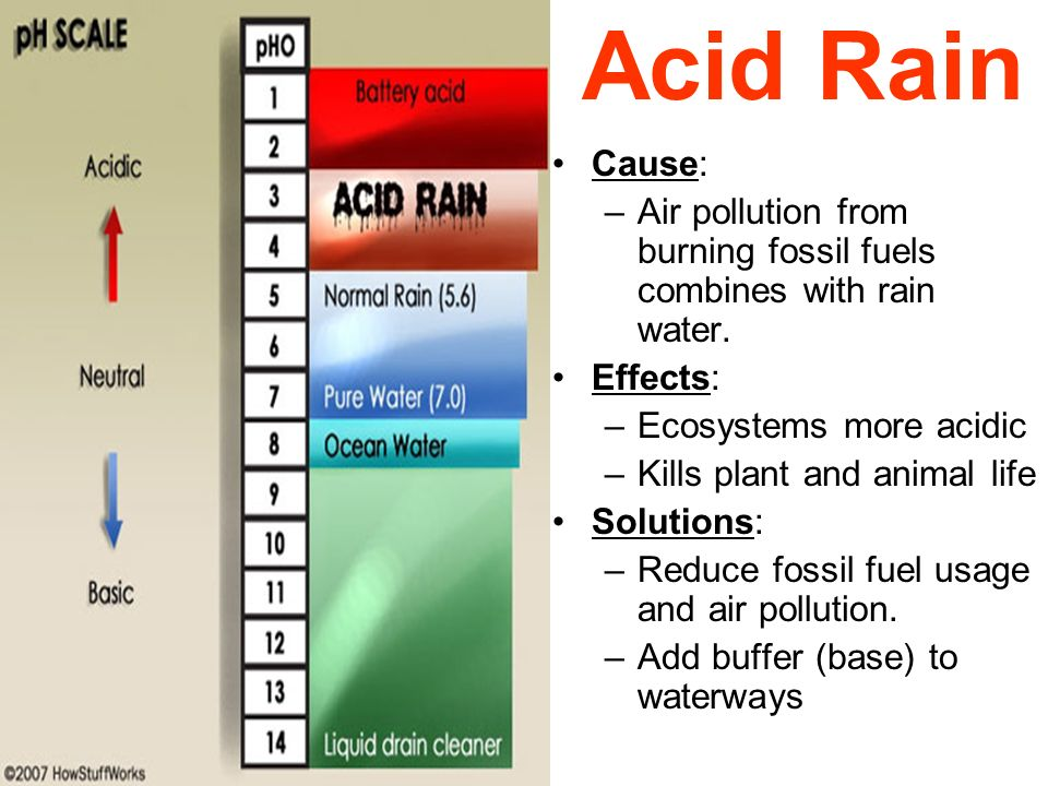 Acid Rain Cause: Air pollution from burning fossil fuels combines with rain water. Effects: Ecosystems more acidic.