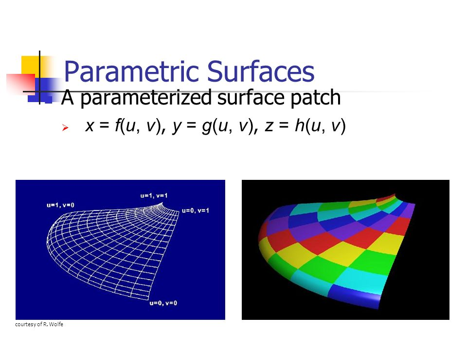Parametric Surfaces A parameterized surface patch