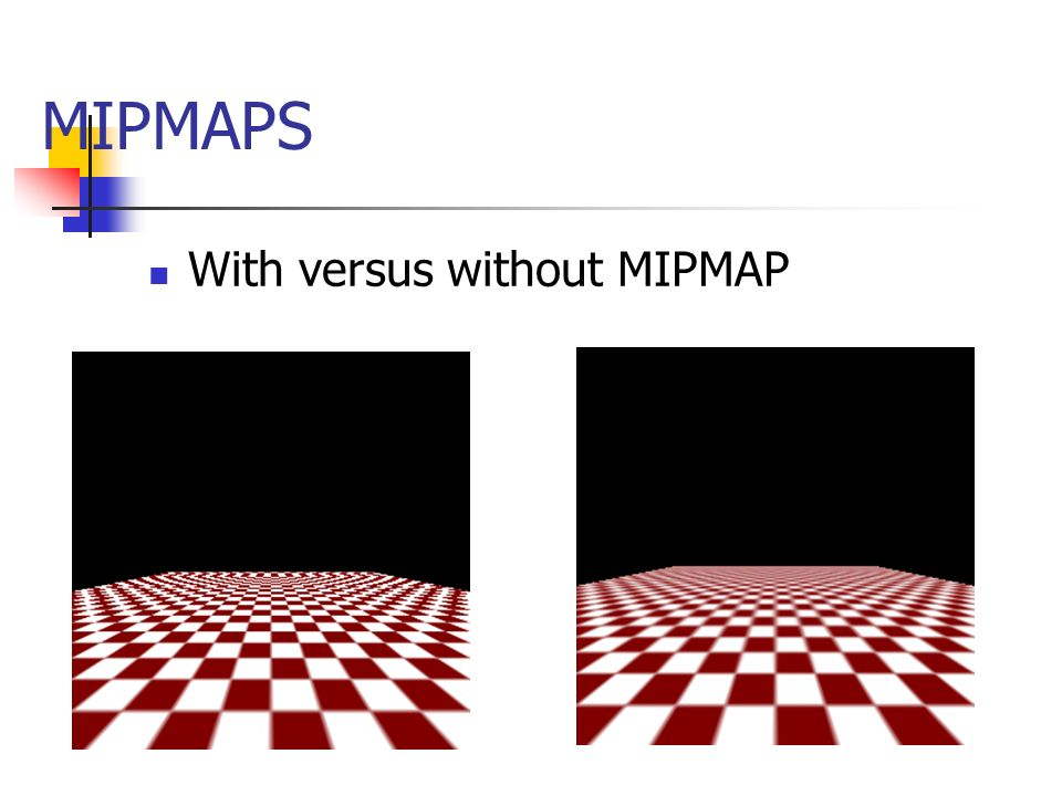 MIPMAPS With versus without MIPMAP