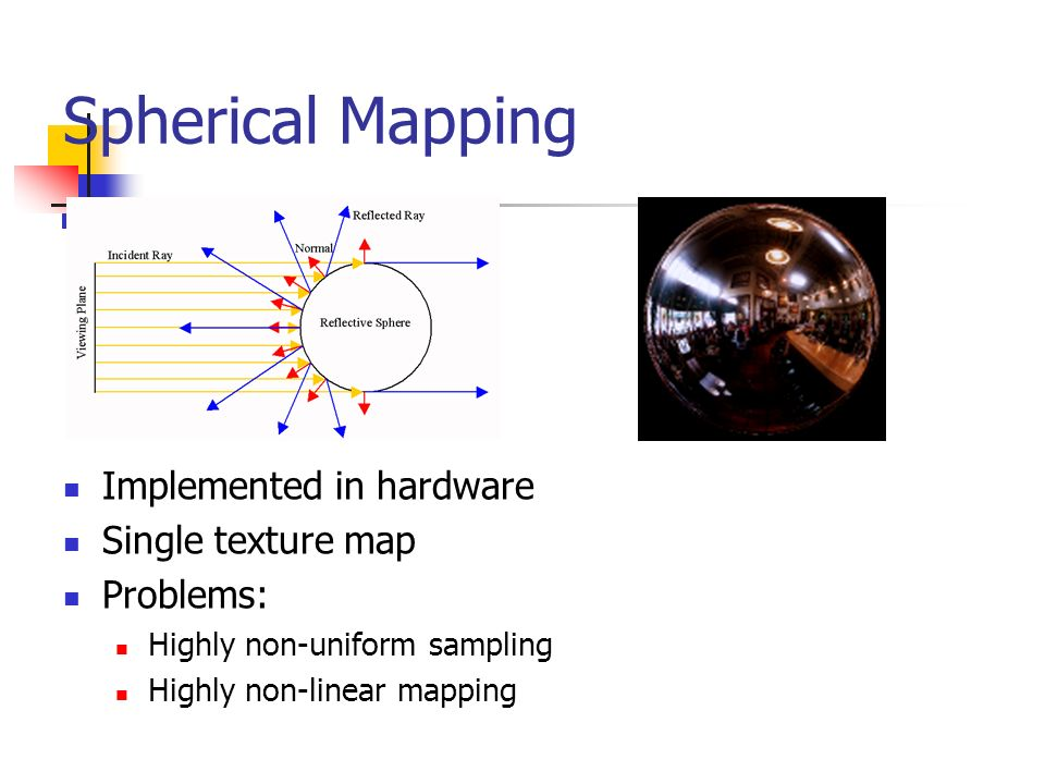 Spherical Mapping Implemented in hardware Single texture map Problems: