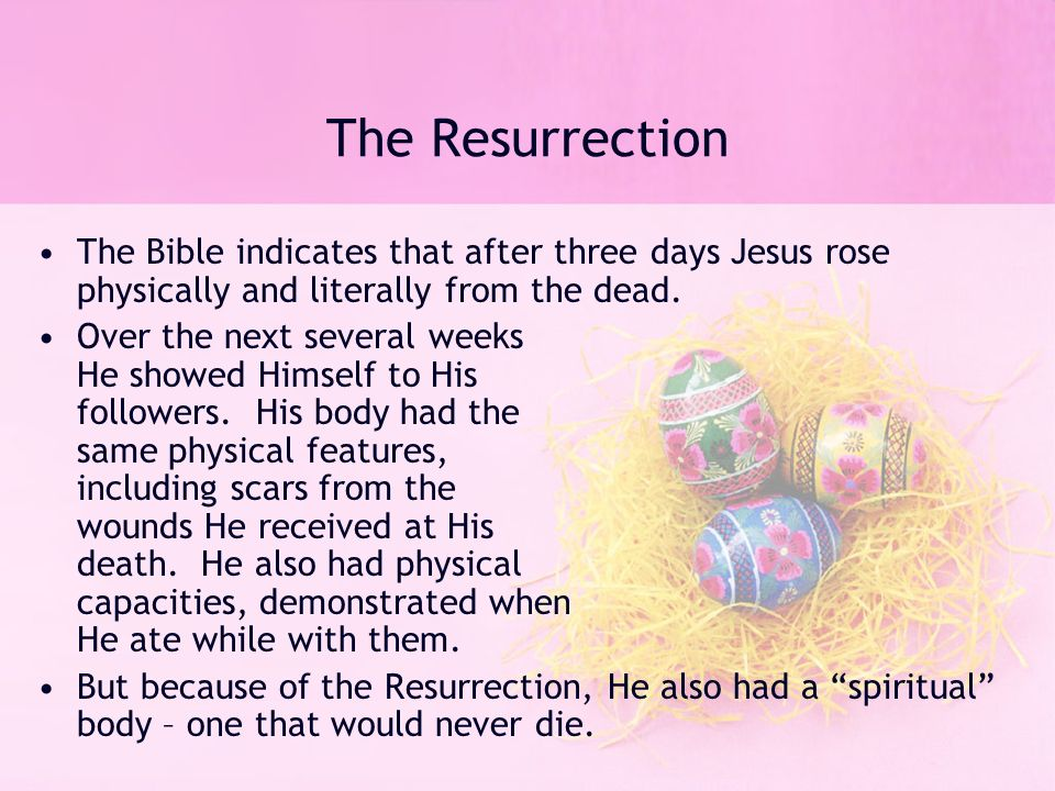 resurrection in the bible essay The resurrection of jesus 1 synthesis the new testament of the bible documents the life and teachings of jesus, as well as his death and resurrection.