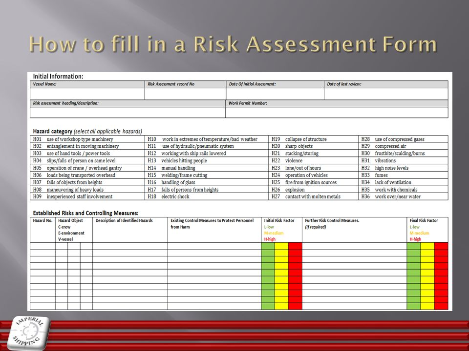 How to fill in a Risk Assessment Form