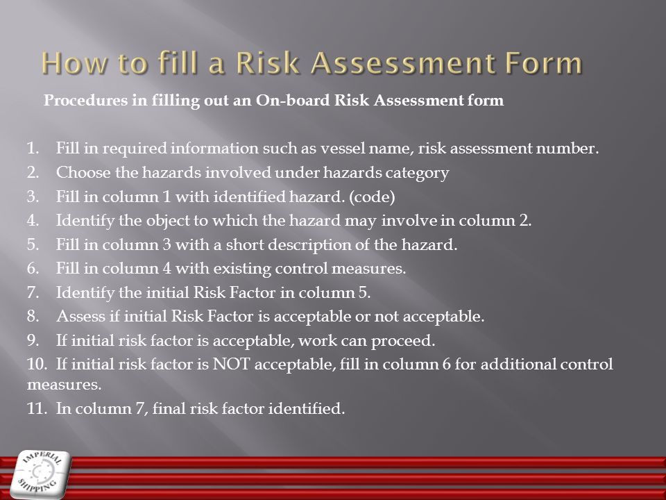How to fill a Risk Assessment Form