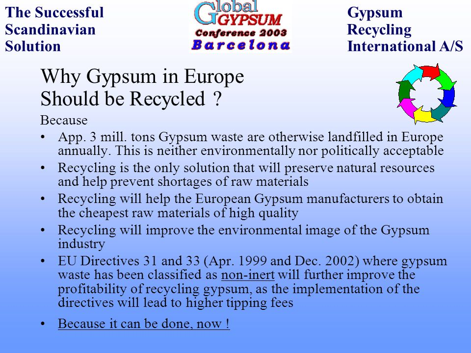 Why Gypsum in Europe Should be Recycled