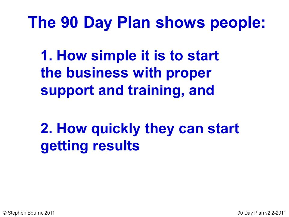 The 90 Day Plan shows people:
