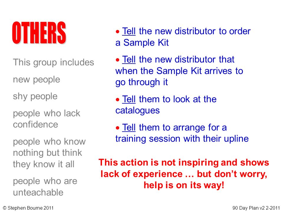 OTHERS Tell the new distributor to order a Sample Kit