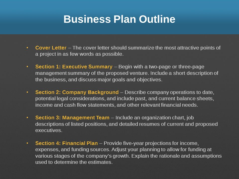 Business Plan Outline Cover Letter – The cover letter should summarize the most attractive points of a project in as few words as possible.