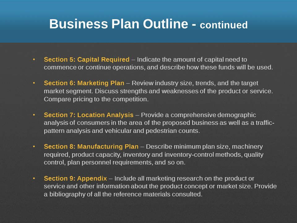 Business Plan Outline - continued