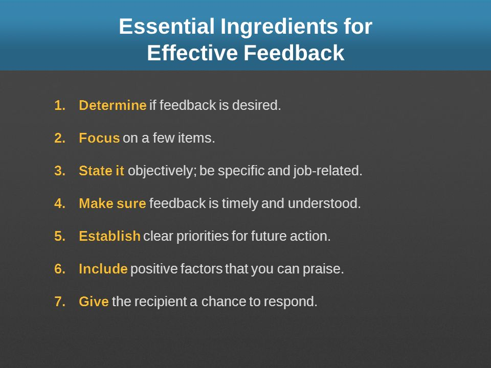 Essential Ingredients for Effective Feedback