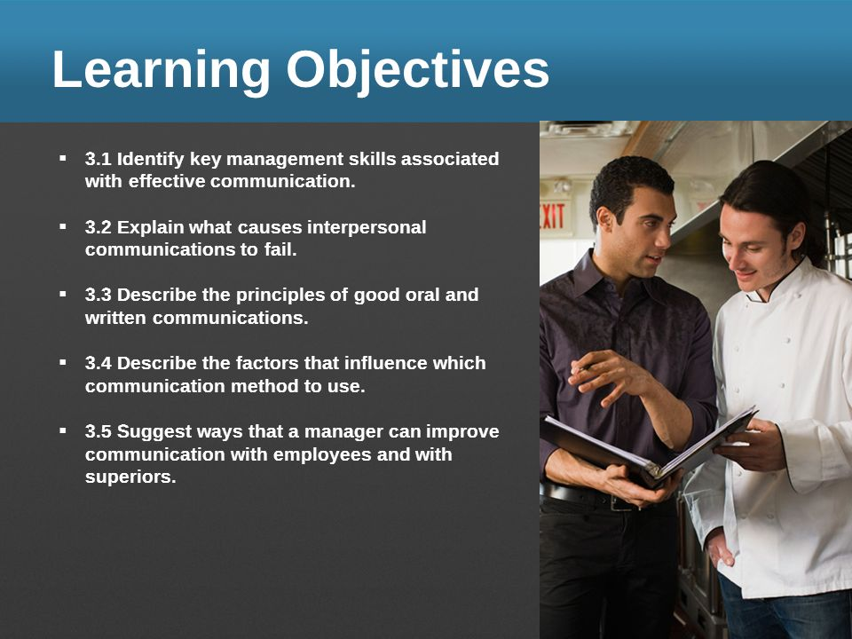 Learning Objectives 3.1 Identify key management skills associated with effective communication.