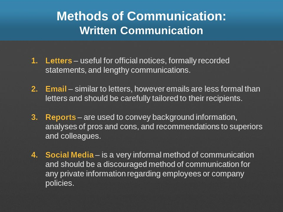 Methods of Communication: Written Communication