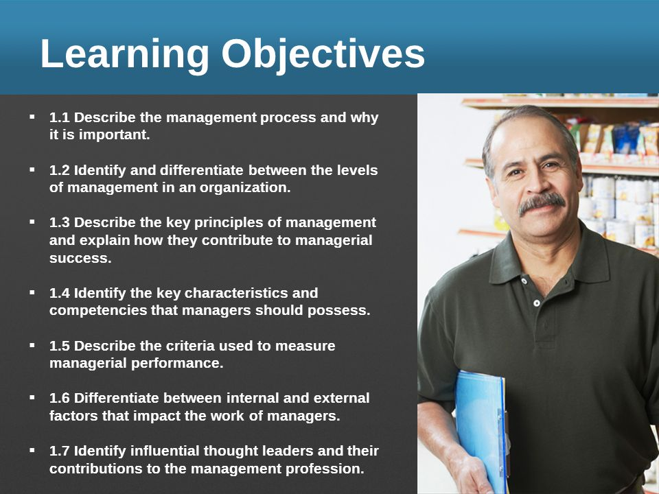 Learning Objectives 1.1 Describe the management process and why it is important.