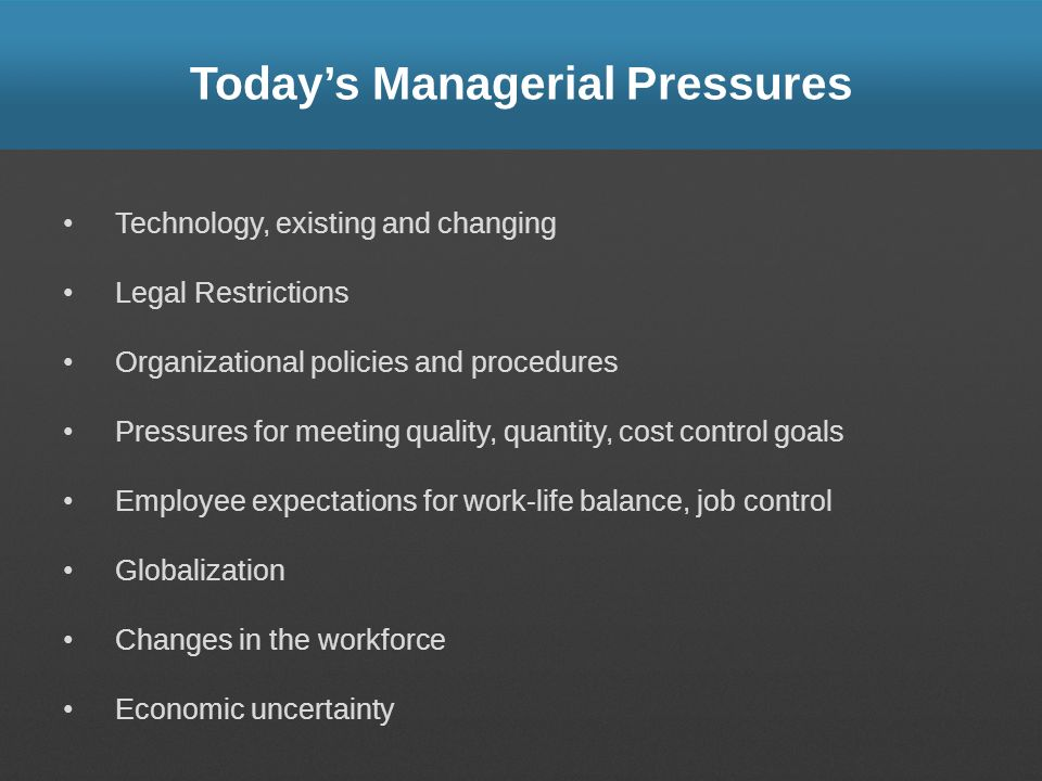 Today's Managerial Pressures