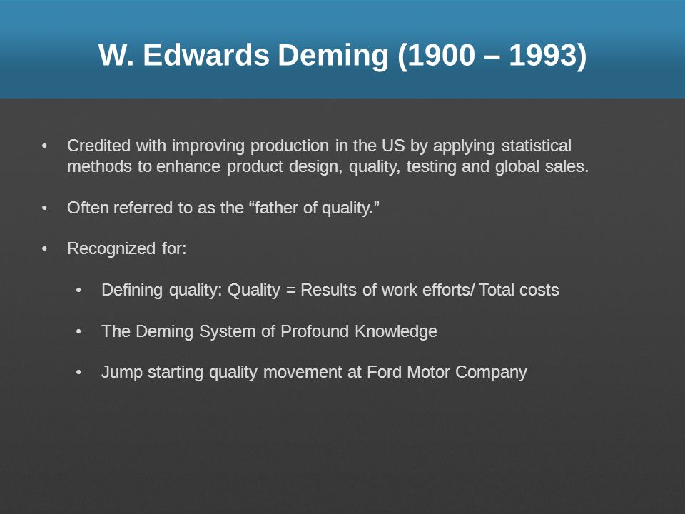 W. Edwards Deming (1900 – 1993)