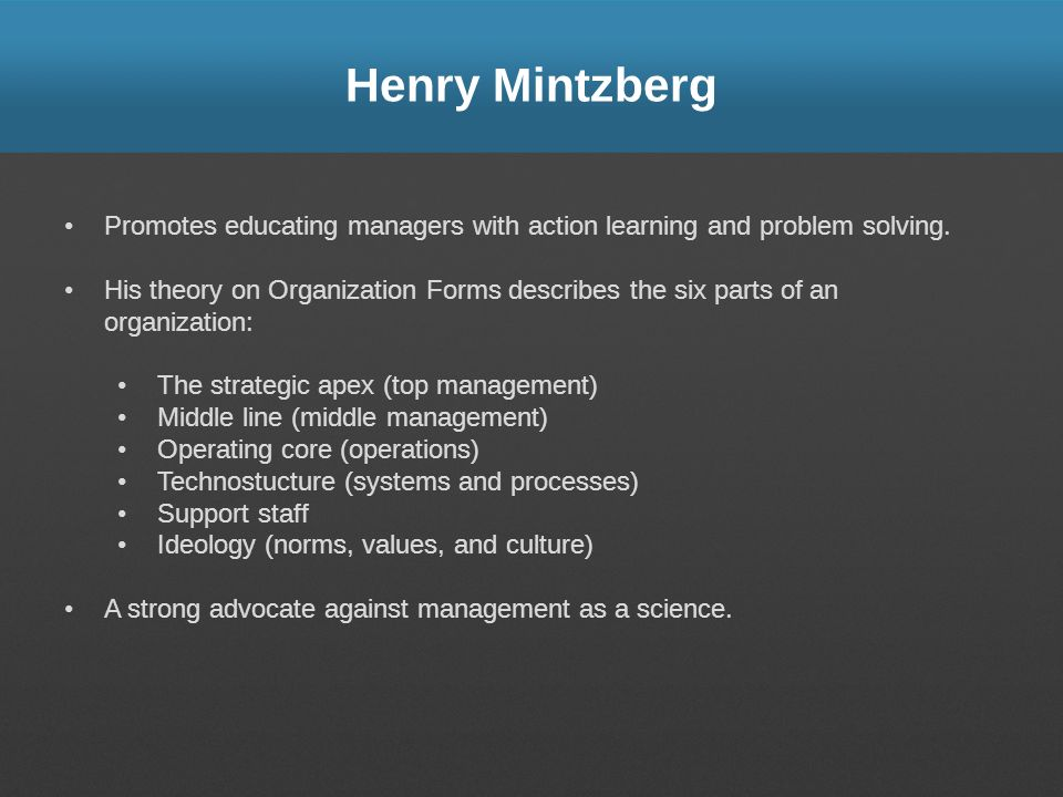 Henry Mintzberg Promotes educating managers with action learning and problem solving.