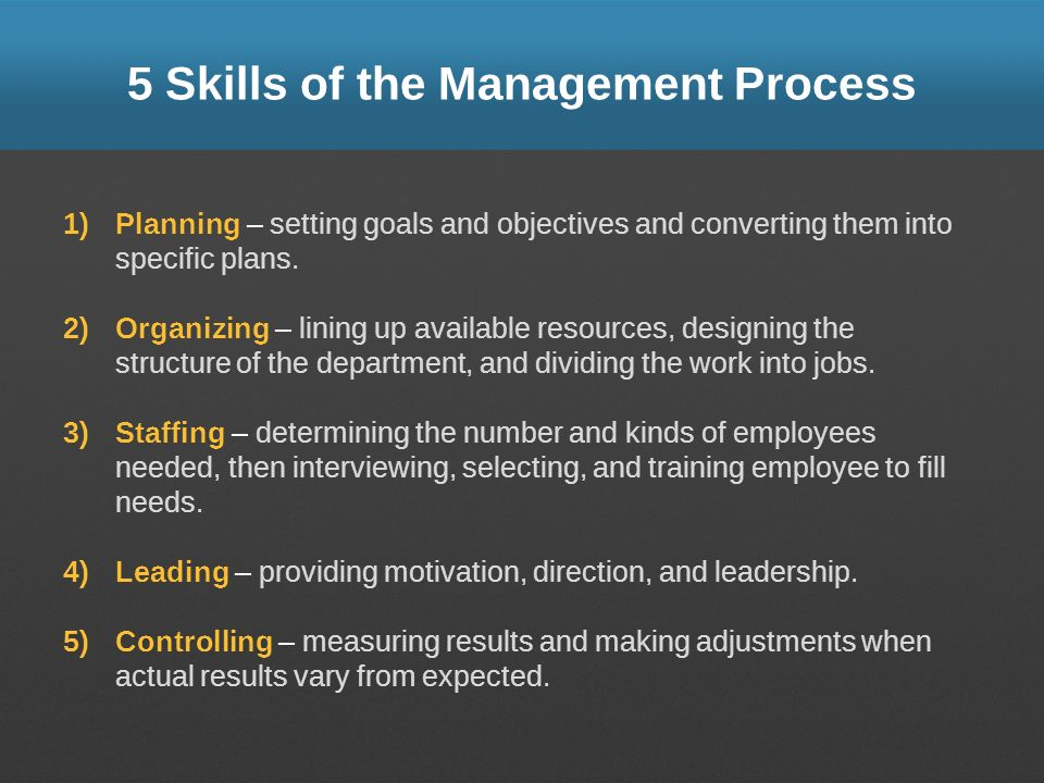 5 Skills of the Management Process