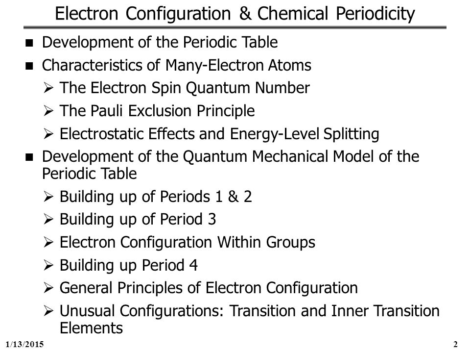 George mason university general chemistry 211 chapter 8 ppt download 2 electron configuration chemical periodicity development of the periodic table urtaz Images