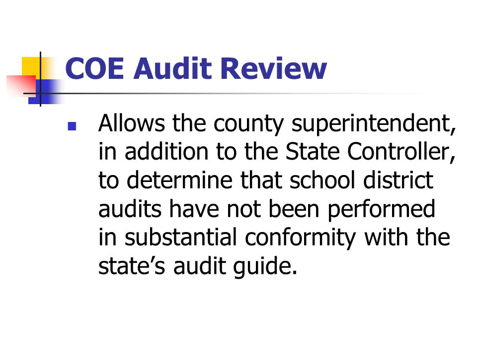 COE Audit Review