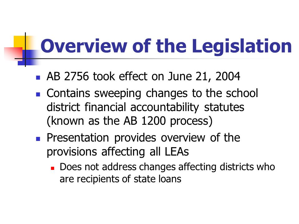 Overview of the Legislation