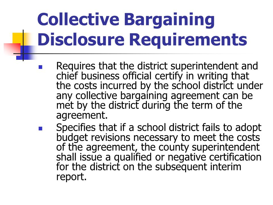Collective Bargaining Disclosure Requirements