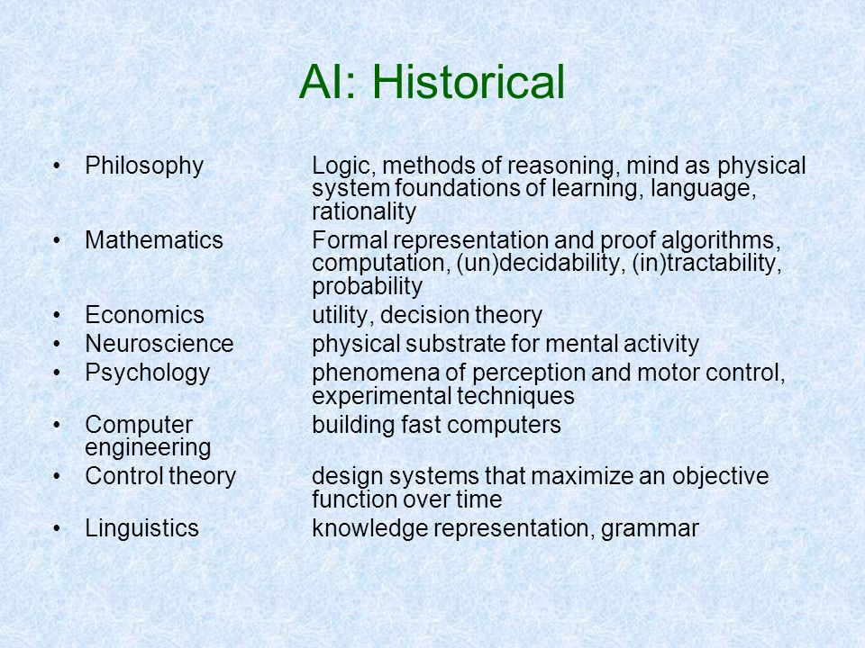 AI: Historical Philosophy Logic, methods of reasoning, mind as physical system foundations of learning, language, rationality.