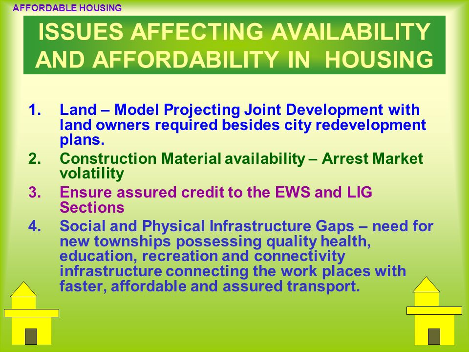 ISSUES AFFECTING AVAILABILITY AND AFFORDABILITY IN HOUSING