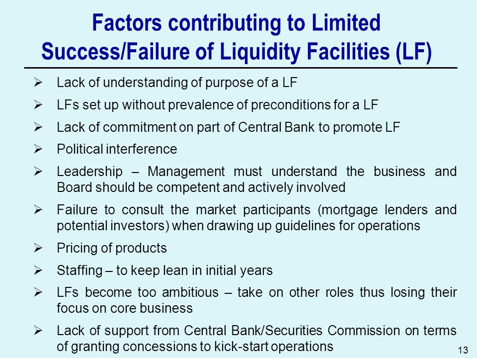Factors contributing to Limited Success/Failure of Liquidity Facilities (LF)