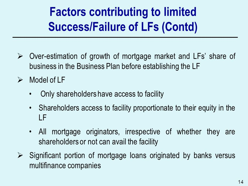 Factors contributing to limited Success/Failure of LFs (Contd)