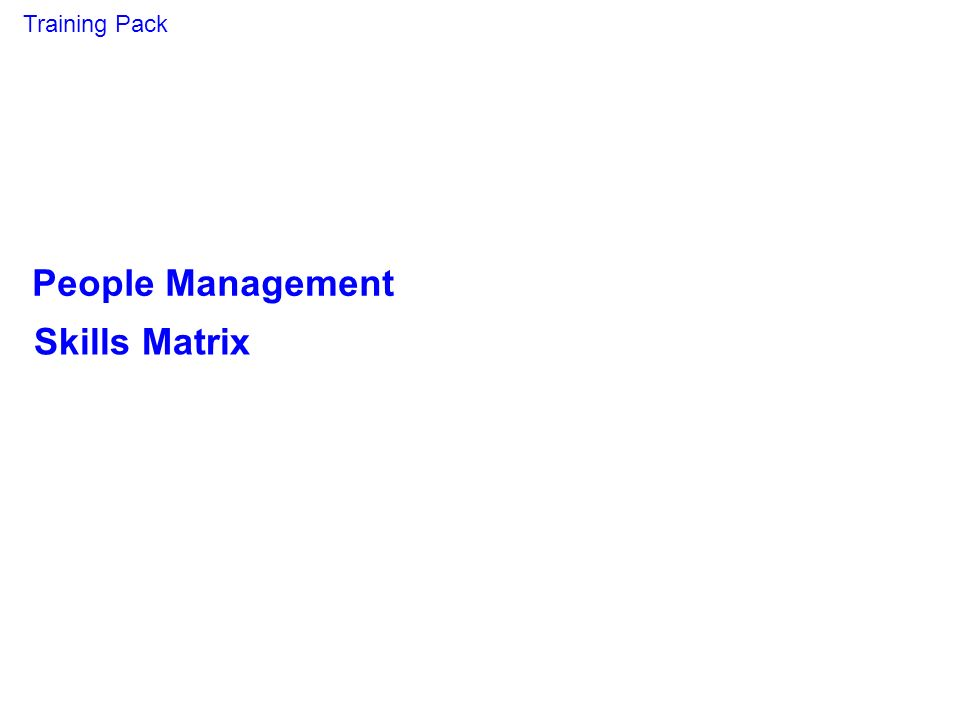 Training Pack People Management Skills Matrix