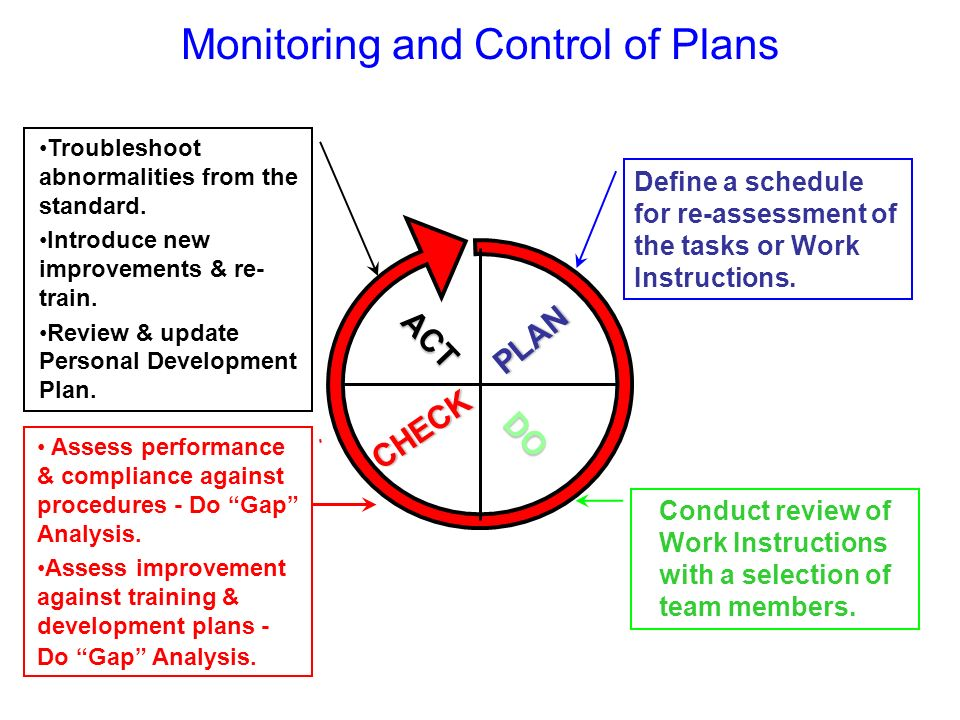 Monitoring and Control of Plans