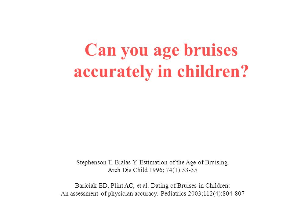 age dating of bruises