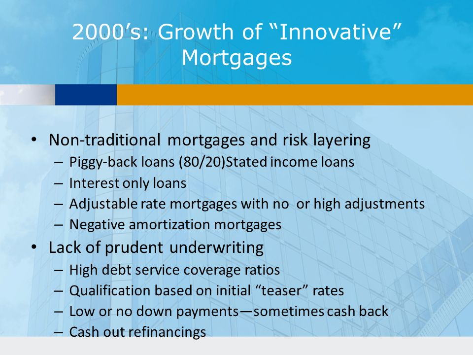 2000's: Growth of Innovative Mortgages