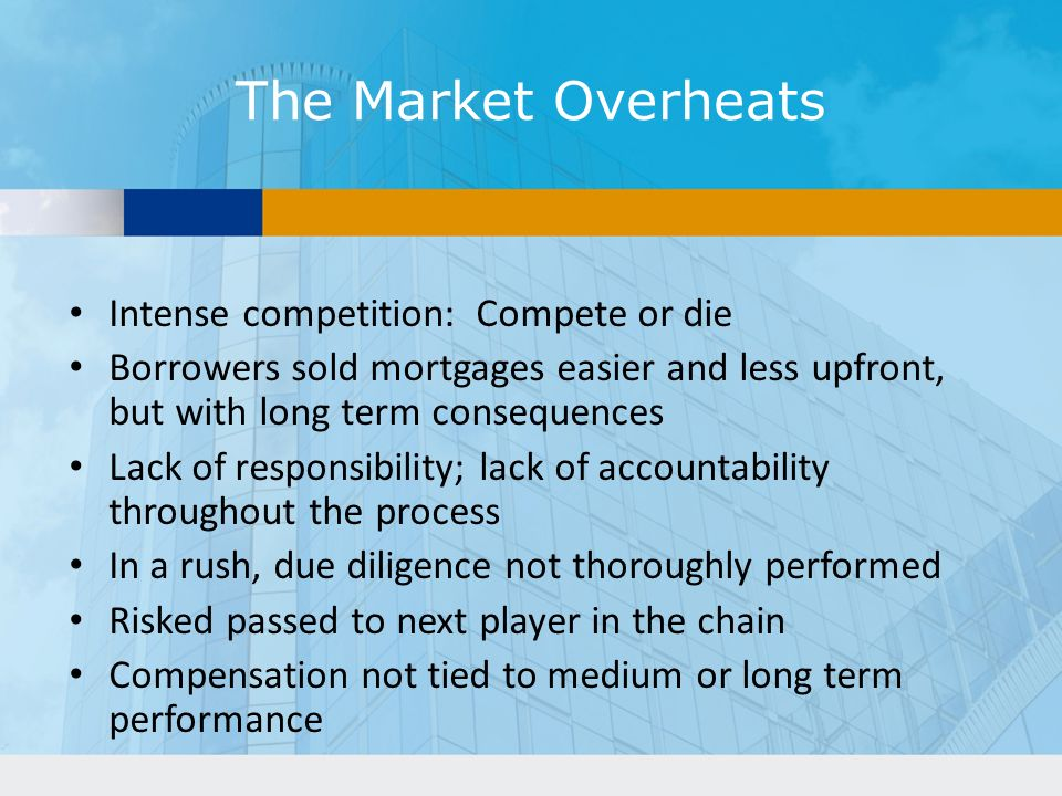 The Market Overheats Intense competition: Compete or die