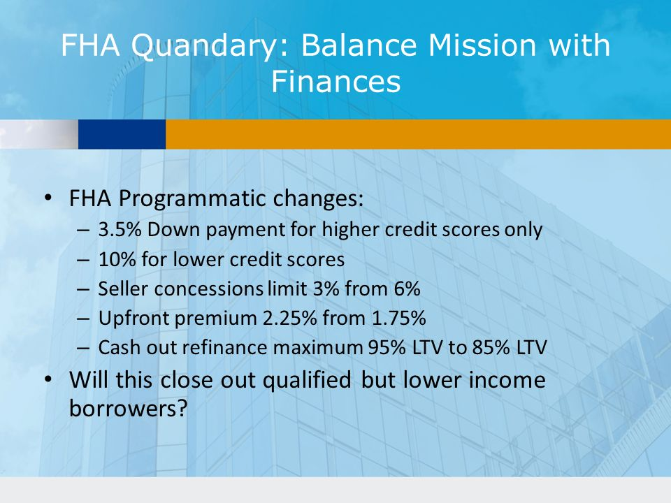 FHA Quandary: Balance Mission with Finances