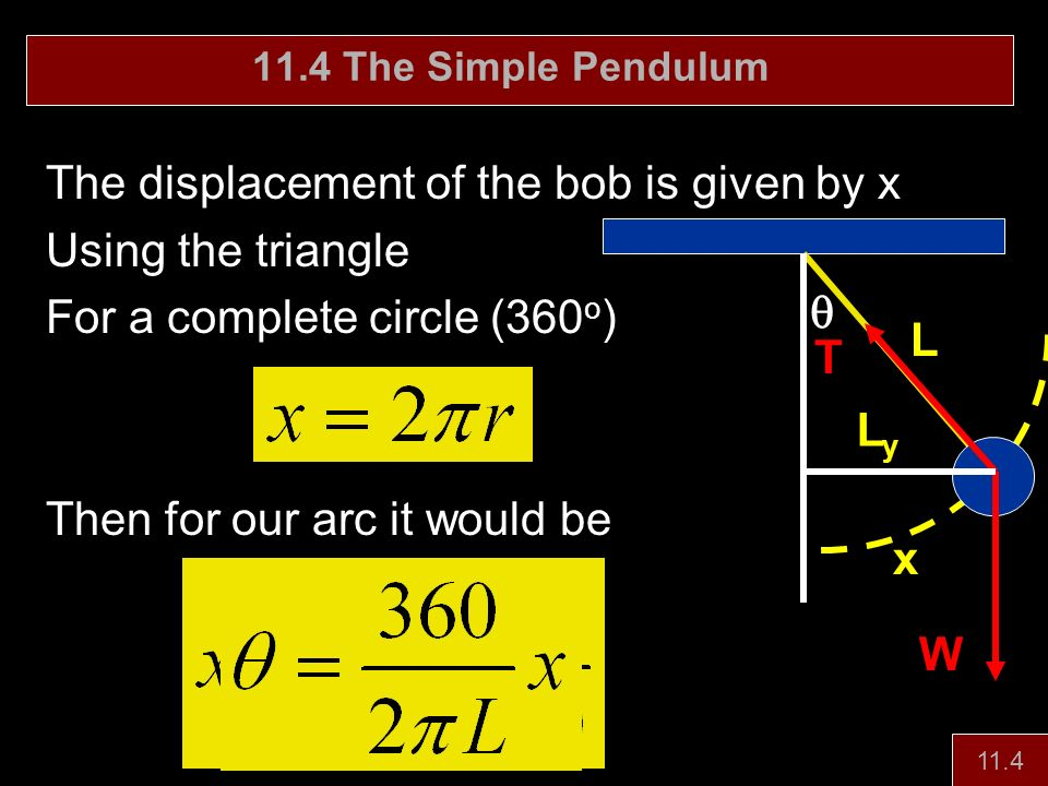 The displacement of the bob is given by x Using the triangle